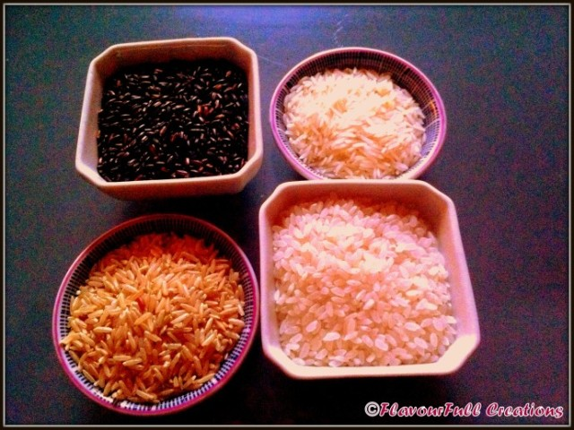 Clockwise from left: Black (or forbidden) rice, Basmati,  Brown Long  Grain, Sushi Rice